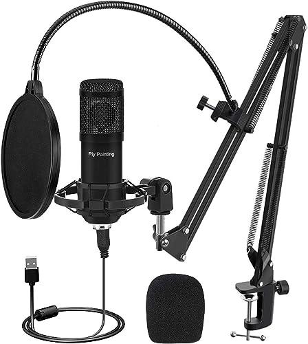 USB Microphone Kit, Piy Painting Cardioid Condenser Microphone Kit with 192KHZ/24Bit Studio Mic Sound Chipset Scissor...