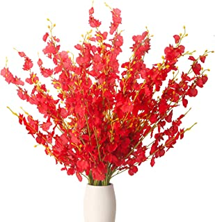BOMAROLAN Artificial Orchid Silk Fake Flowers Faux Dancing Lady Orchids Stems Flower 10 Pcs Real Touch for Wedding Home Office Party Hotel Yard Decoration Restaurant Patio Festive Furnishing(Red)