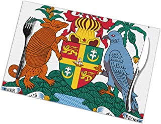 Grenada National Emblem Set of 6 Placemats Stain Resistant Table Place Mats Easy to Clean for Kitchen Dining