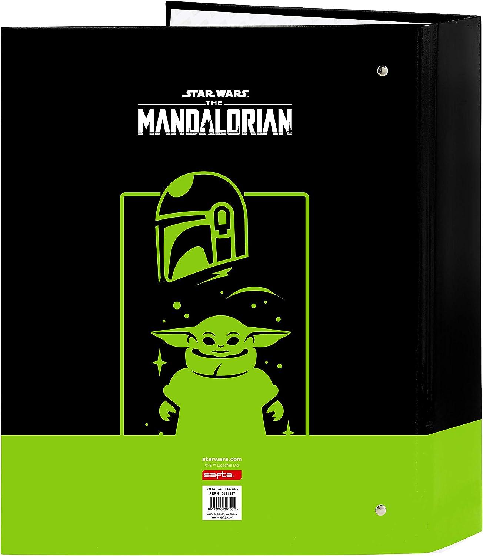 Safta 512041657 The Mandalorian Classeur /à 4 anneaux Noir//vert fluo 320 x 140 x 440 mm