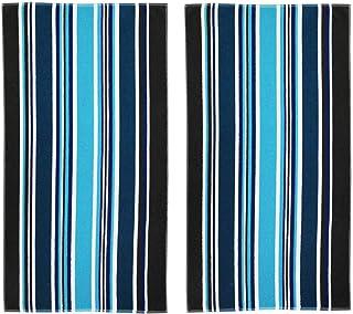 COTTON CRAFT-2 Pack-Dobby Double Woven Velour Beach Towel 39x68 Inches-Cancun Blue Stripes-Thick Plush Luxurious Velour Pile-450 GSM-100% Pure Ringspun Cotton-Brilliant Vibrant Colors