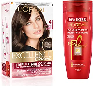L'Oreal Paris Excellence Creme Hair Color  - 4 Natural Dark Brown and L'Oreal Paris Colour Protect Protecting Shampoo, 175ml