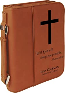 Custom Bible Cover | with God All Things are Possible |Personalized Bible Cover (Rawhide)