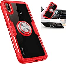 Huawei P20 lite Case,360° Rotating Ring Kickstand Protective Case,TPU+PC Shock Absorption Double Protection Cover Compatible with [Magnetic Car Mount] for Huawei P20 lite Clear Case (Red/Silver)