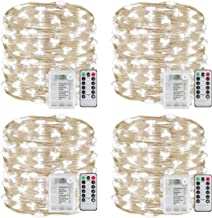 Sanniu String Lights, 4 Packs Fairy String Lights Battery Operated Copper Wire Led Fairy Lights for Outdoor, Indoor, Wedding, Christmas or Backyard Patio 8 Modes (Cool White)