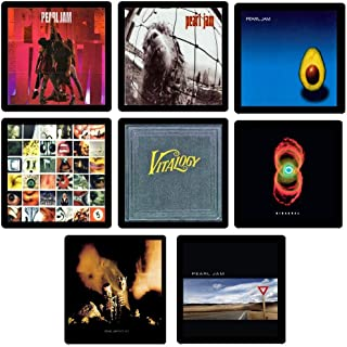 Handmade by Senor Swag ~ Pearl Jam Collectible Coaster MEGA Gift Set ~ (8) Different Album Covers Reproduced on Soft Pliable Coasters
