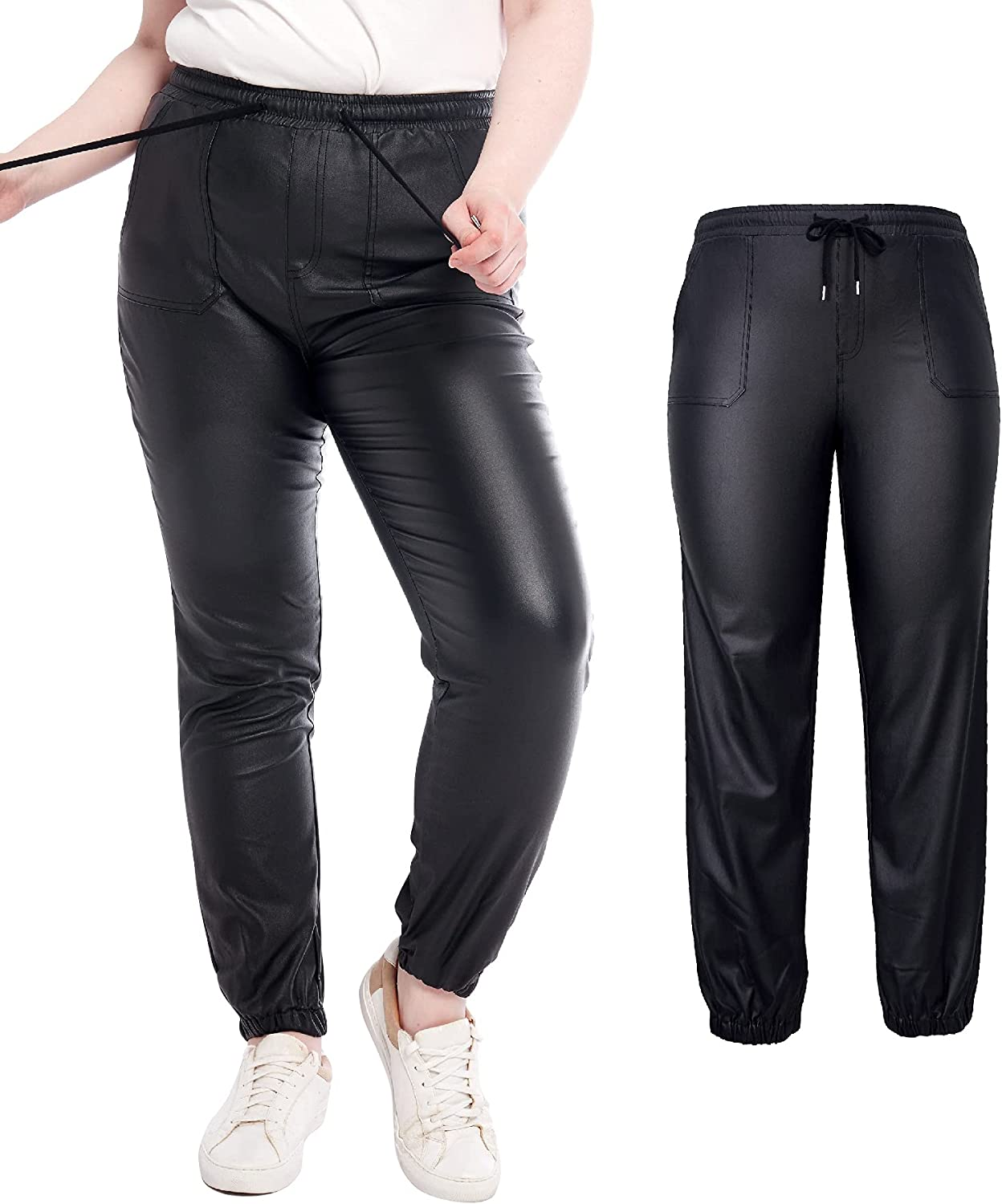 Womens Stretchy Jeggings, Faux Leather Legging Pants with Pockets, Regular and Plus Size