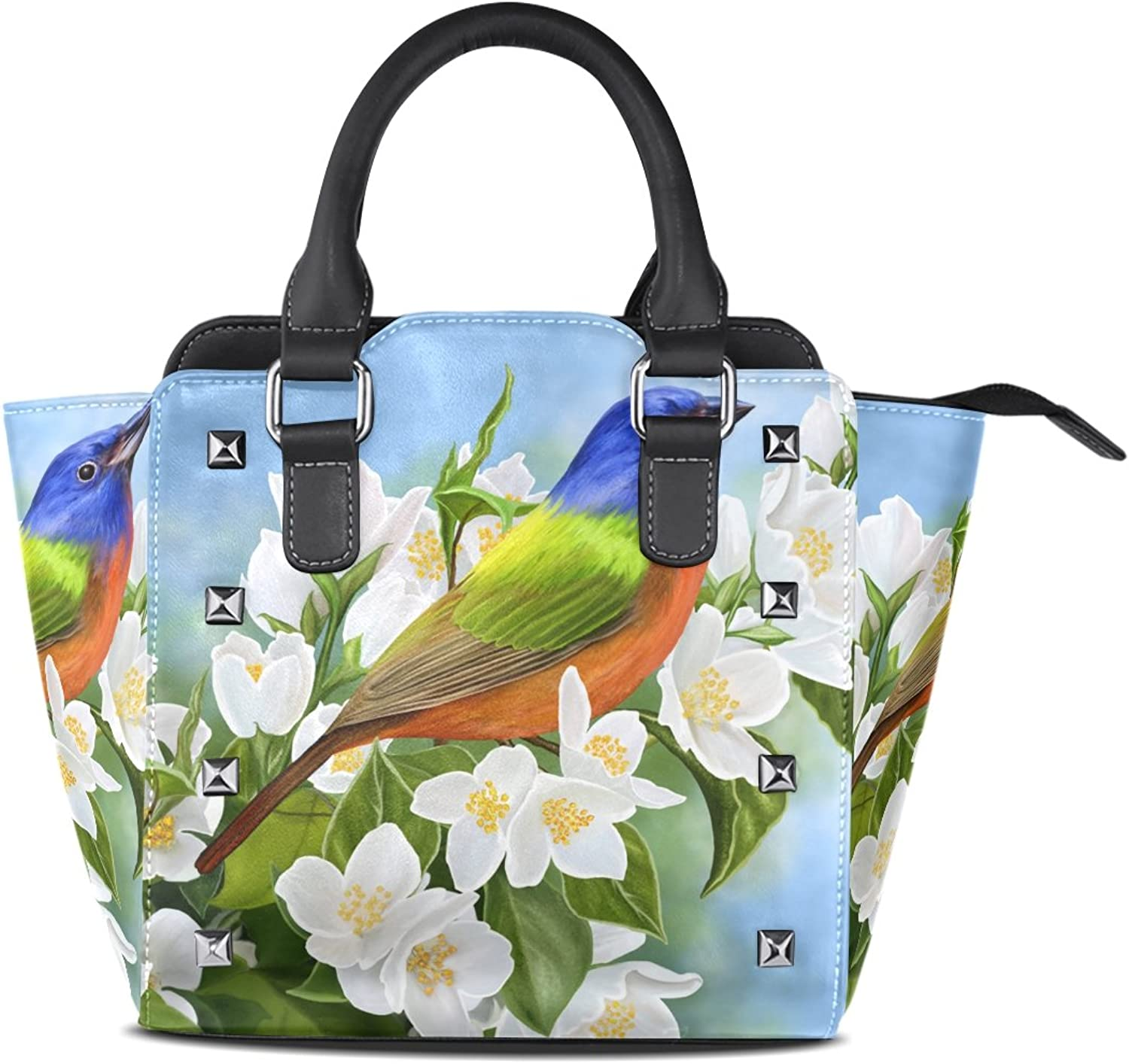My Little Nest Women's Top Handle Satchel Handbag Cute Bird Jasmine Branch Ladies PU Leather Shoulder Bag Crossbody Bag