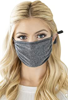 Reusable Fabric Face Mask Unisex Washable Covering - Cute Print Cloth Comfy Breathable Adjustable Outdoor Mouth Shield Protection Men Women (Round/Adjustable Tie - Solid Charcoal)