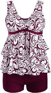 6a44688d62aa7 iLUGU Women Plus Size Bikini Set High Waist Beachwear Ruffle Swimwear  Push-Up Padded Print