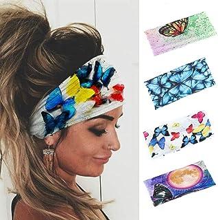 Earent Boho African Headbands Yoga Wide Hair Bands Sweat Butterfly Printed Headwraps Elastic Turban Headscarfs Purple Head...