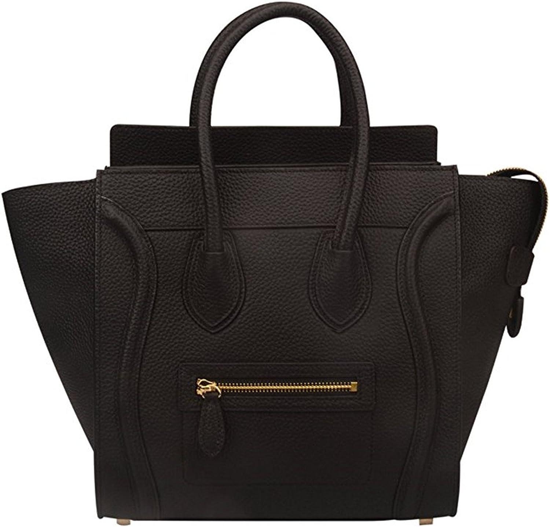 Genuine Leather Smile Top Handle Handbag Purse Black