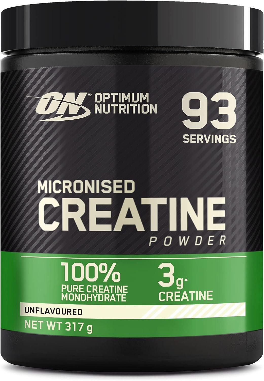 Optimum Nutrition Creatina Monohidrato Micronizada, Creatina en Polvo, Suplementos Deportivos para Rendimiento, Sin Sabor, 93 Porciones, 317g