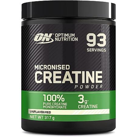 Optimum Nutrition Micronised Creatine Monohydrate, Créatine Monohydrate Micronisé en Poudre, Non Aromatisé, 93 Portions, 317g, l'Emballage Peut Varier