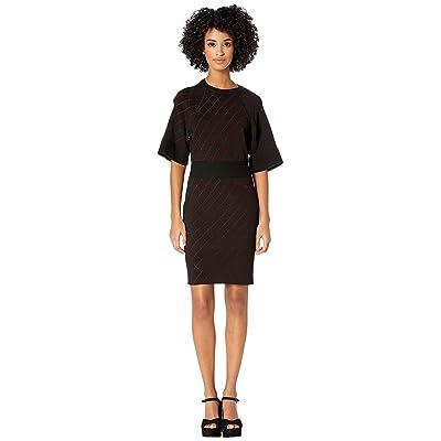 Nicole Miller Diamond Knit Dress (Black/Red) Women