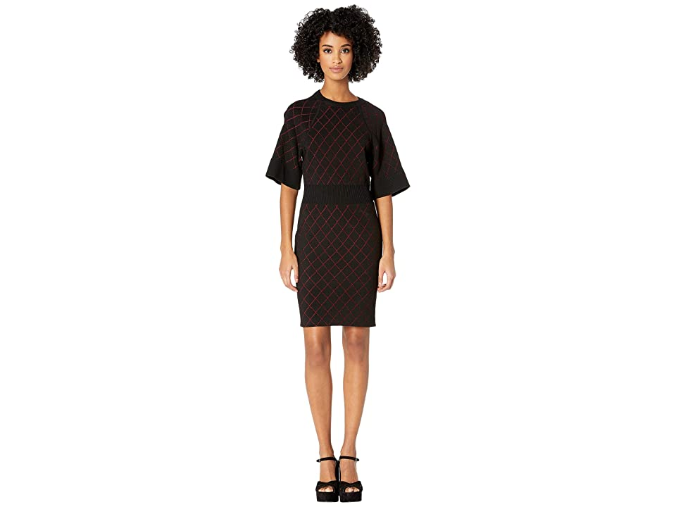 Nicole Miller Diamond Knit Dress (Black/Red) Women