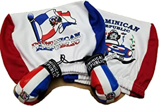 Dominican Republic Headrest Cover Flag Fit for Cars Vans Trucks-Sold by a Pairs w/ Santo Domingo boxing gloves