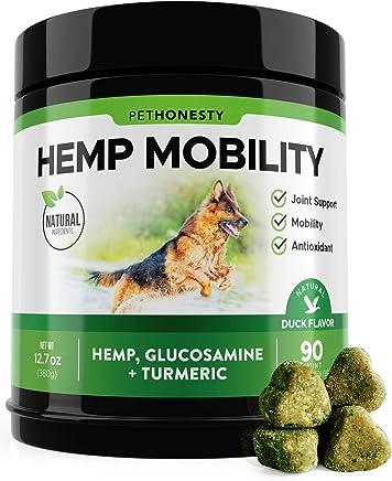 PetHonesty Hemp Hip & Joint Supplement for Dogs w/Hemp Oil + Hemp Powder - Glucosamine Chondroitin for Dogs w/Turmeric, MSM, Green Lipped Mussel, Dog Treats Improve Mobility, Reduces Arthritis 90 Ct