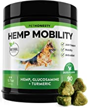 PetHonesty Hemp Hip & Joint Supplement for Dogs w/Hemp Oil + Hemp Powder - Glucosamine Chondroitin for Dogs w/Turmeric, MSM, Green Lipped Mussel, Dog Treats Improve Mobility, Reduces Discomfort