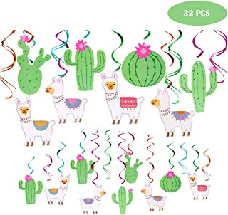 32PCS Llama Cactus Hanging Swirl Decorations, Llama Themed Birthday Party Supplies, Bolivian Peru Alpaca Party Cactus Baby Shower Succulent Party Home Decor