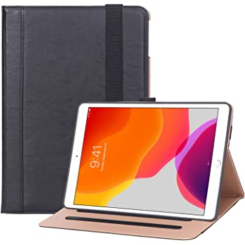 """ProCase New iPad 7th Generation Case 10.2"""" 2019, Premium PU Leather Protective Cover Stand Folio Case with Strap for iPad 10.2 7th Generation 2019 –Black"""
