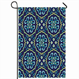 Ahawoso Outdoor Garden Flag 28x40 Inches Blue Moroccan Beautiful Colored Pattern Abstract Spanish Orange Azulejo Talavera Ceramic Color Cross Seasonal Home Decor Welcome House Yard Banner Sign Flags