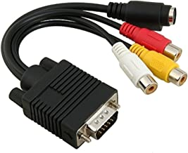 VGA to RCA Cable, Candle2017 VGA to TV S-Video 3 RCA PC Computer AV Adapter Cable6