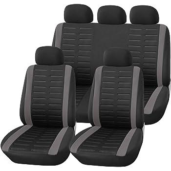 Upgrade4cars Copri-sedili Auto Universale Nero Grigio | Set Copri-Sedile Universali per Anteriori e Posteriori | Accessori Auto Interno
