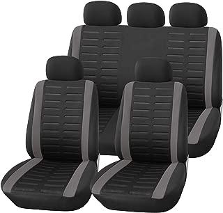 Upgrade4cars Auto-Sitzbezüge Set Universal Auto-Schonbezüge Schwarz Grau mit Seiten Airbag Öffnungen und Teilbarer Rückbank Auto-Zubehör Innenraum