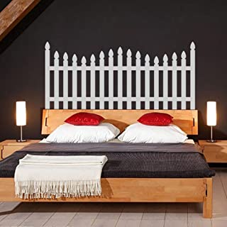 Picket Fence Headboard Decal For Bedroom & Headboard Decor F(X-Large,Bed Headboard-White)