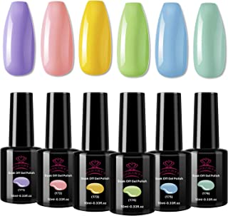 Makartt Gel Nail Polish Set, 6 Fall Colors Pink Blue 10 ML UV Gel Nail Kit 6 Bottles Soak Off Gel Macaron Colors with Gift Box P-17