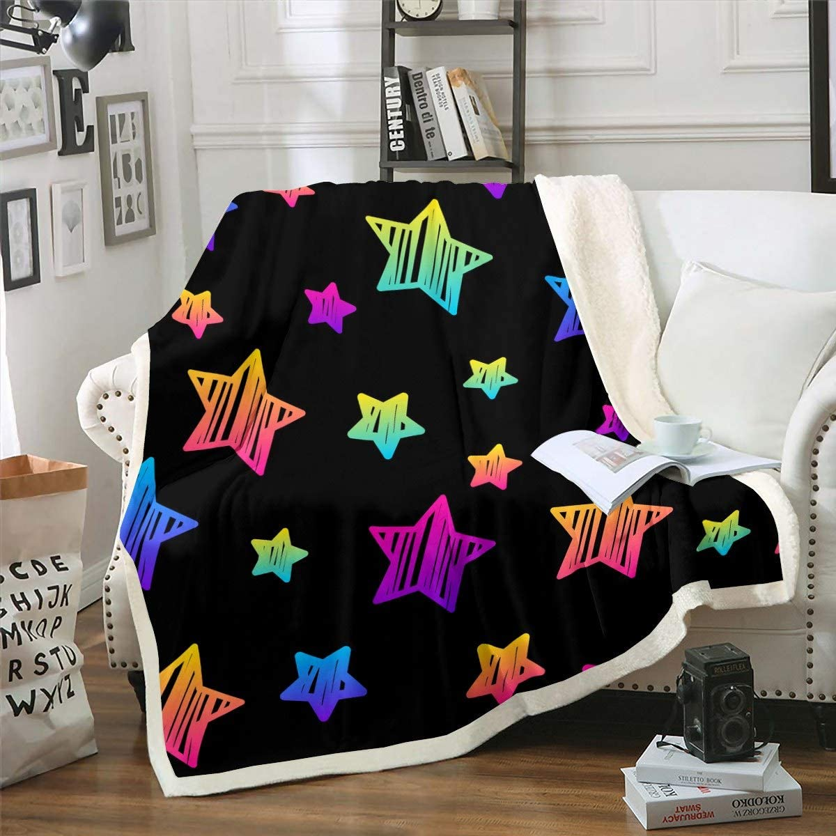Feelyou Kids Stars Throw Blanket Colorful Print Tucson Mall Boys Girls Safety and trust