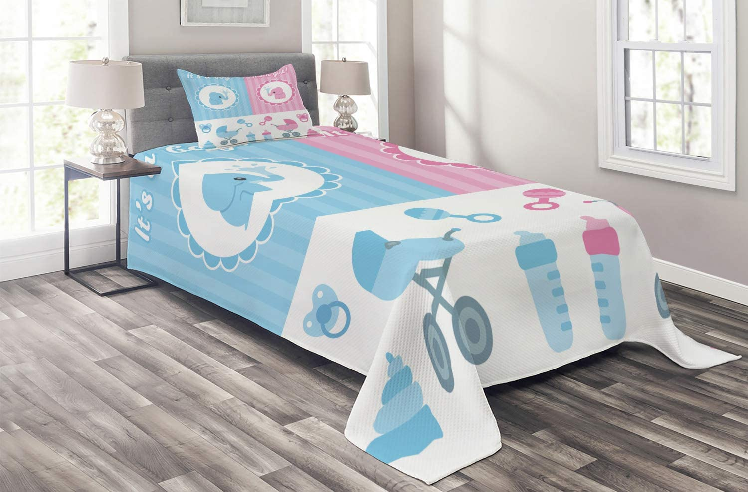 Ambesonne Gender Daily bargain sale Reveal Coverlet s Composition with Girl Sh Boy Purchase