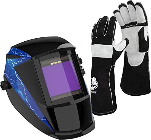 high quality YESWELDER Large Viewing Solar Powered Auto Darkening outlet sale Welding Helmet & 16 Inches,932℉,Leather 2021 Forge MIG Welding Gloves online