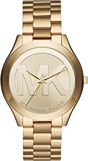Michael Kors Women's Slim Runway Quartz Watch with Stainless-Steel Strap, Gold, 20 (Model: MK3739)