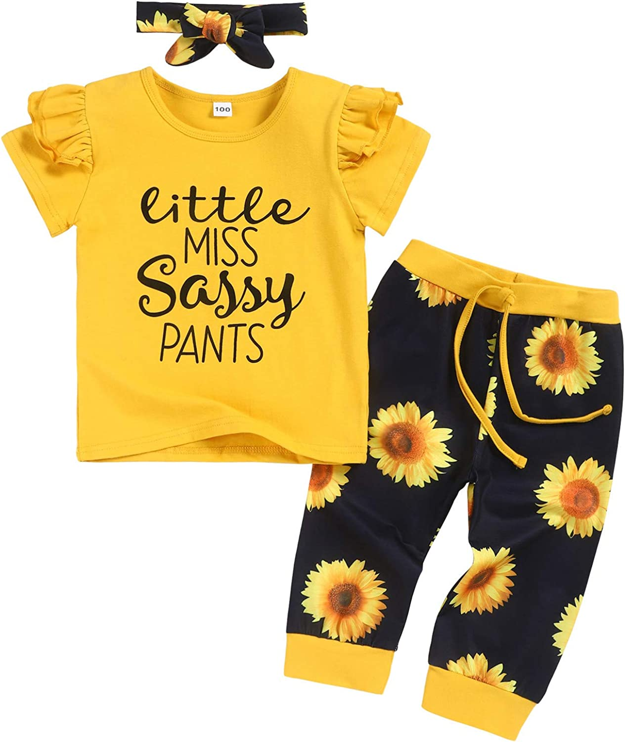 Toddler Girl Summer Clothes Floral Short Now free Raleigh Mall shipping +Pants Cute Baby Sleeve