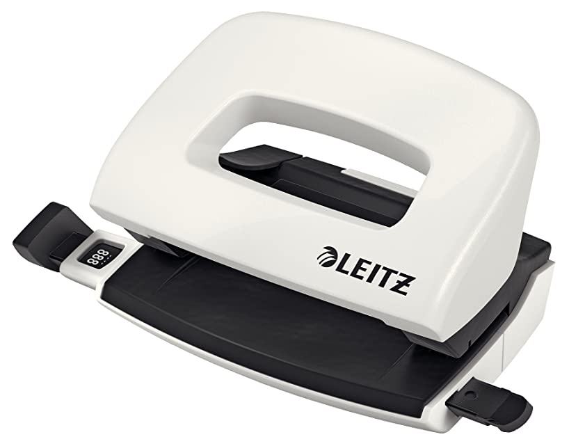 Leitz Hole Punch, Guide Bar with Format Markings, Metal, Wow Range 10 Sheets
