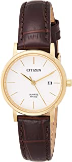Citizen Women White Dial Leather Band Watch - EU6092-08A