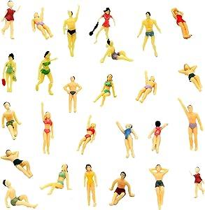 Hiawbon 30 pcs 1:75 Scale Mini Painted People Model Beach Swimsuits Figurines Miniature People Figures