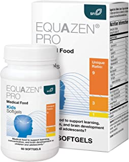 EQUAZEN PRO Fish Oil for Kids - EPA / DHA / Omega-3 Omega-6 GLA Clinically Tested to Improve Focus, Learning + Behavior in...