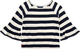Polo Ralph Lauren Kids - Striped Ruffle Sleeve Top (Little Kids/Big Kids)