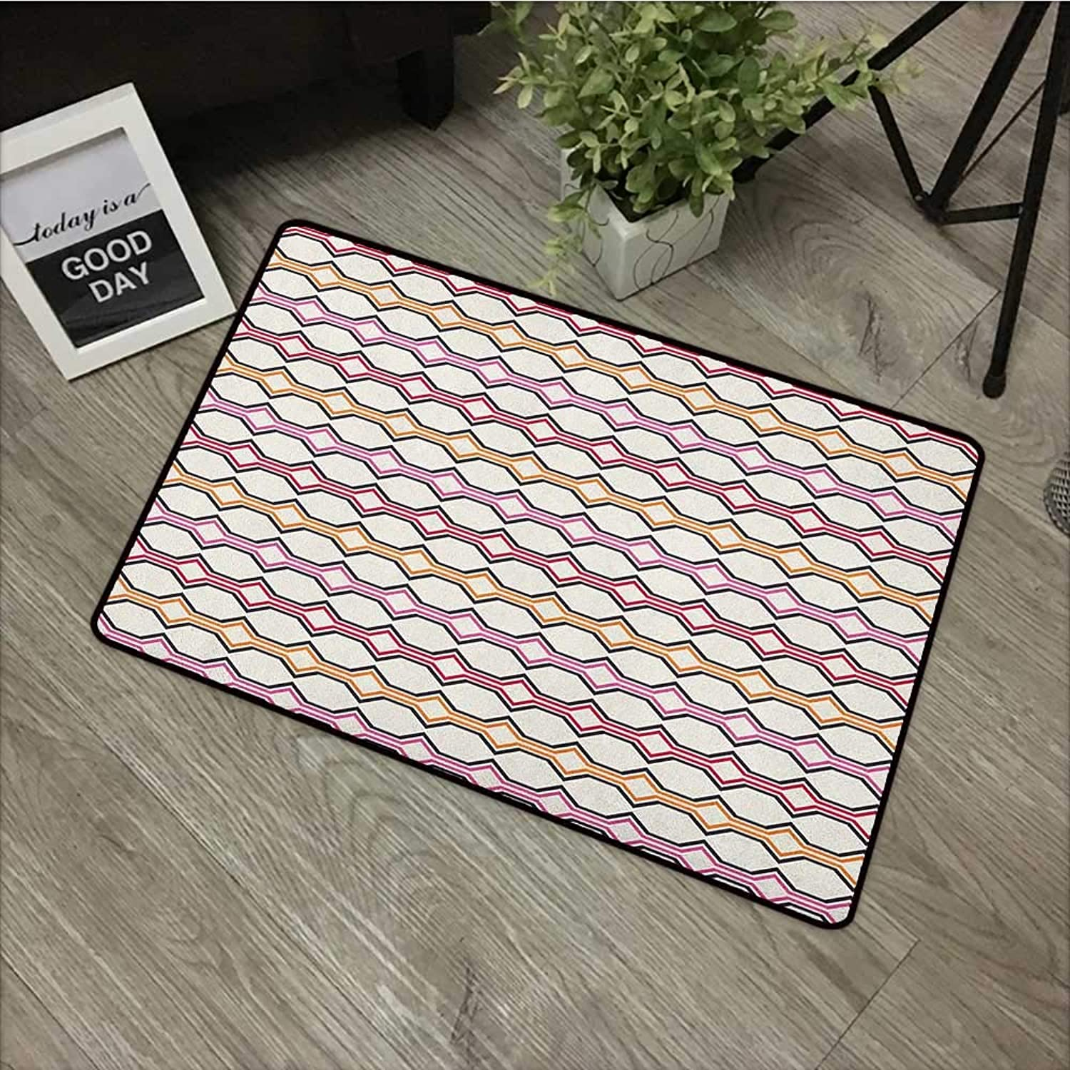 Interior mat W35 x L59 INCH Geometric,Hexagonal Shapes with Warm Tones Curved Lines and Rectangle Design Retro Motifs, Multicolor Easy to Clean, no Deformation, no Fading Non-Slip Door Mat Carpet