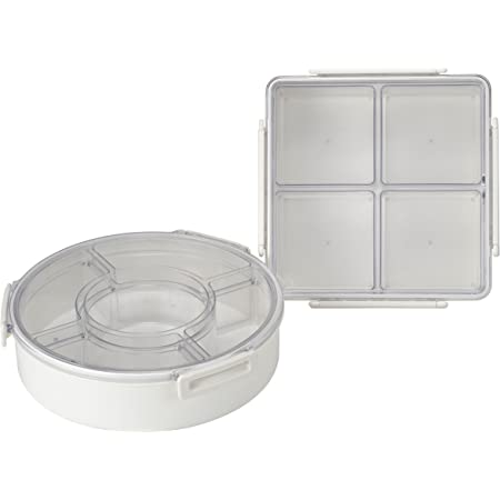 Amazon Com Lustroware Lsx 214 Gourmet Palette Round And Square 2 Piece Party Food Container Set White Food Savers Kitchen Dining