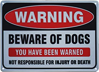 Monifith Beware of Dogs Warning Sign for Indoor or Outdoor Use Funny Metal Tin Sign Security Yard Signs Vintage Wall House Sign Easy Mount On Fence Gate 12X8Inch