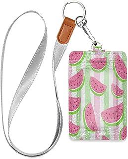 HMZXZ Porte-badge en cuir synthétique rose pastèque avec cordon détachable - Porte-badge vertical - Pour femme, homme, ens...