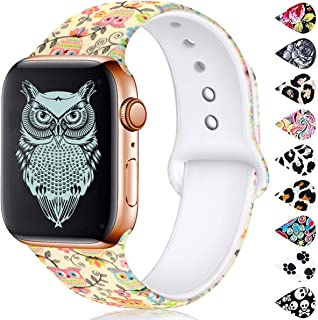 Haveda Floral Bands Compatible with Apple Watch 40mm Series 4 Series 5, Soft Pattern Printed 38mm iWatch Bands Series 3/2/1 Silicone Sport Replacement Wristbands for Women Men Kids, S/M Owl