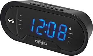 JENSEN JCR-298 Bluetooth Digital AM/FM Dual Alarm Clock with USB Charging Port, Blue Display, and Aux in