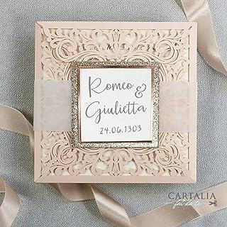 PARTECIPAZIONI matrimonio fai da te Shabby chic GLITTER rose oro SET anniversario fidanzamento compleanno DIY carta pesca ...