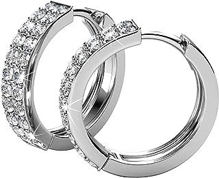 YOURDORA Damen Edelstahl Creolen mit Kristallen von Swarovski Titan Chirurgenstahl Ohrringe Kreis 20mm