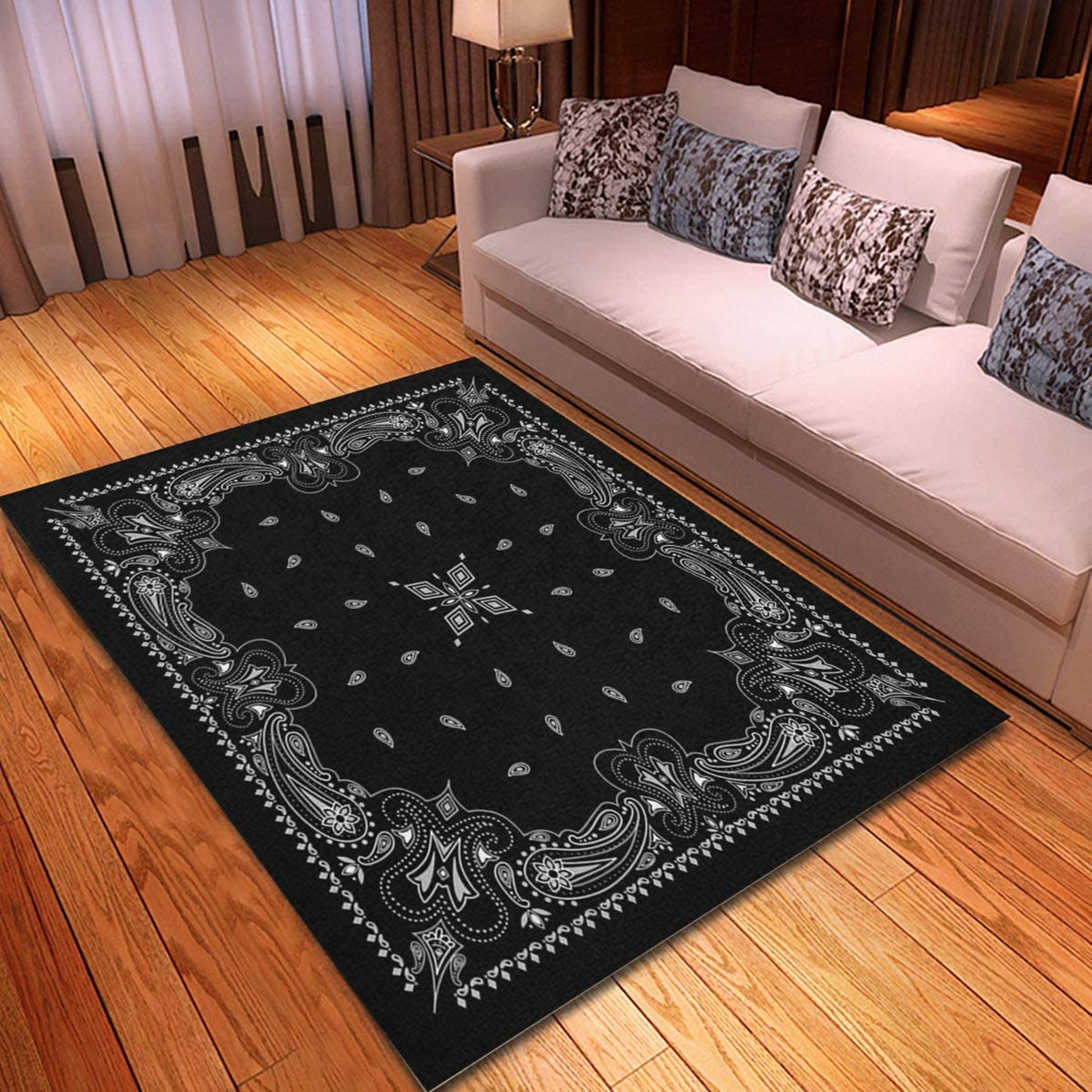 rouihot Non-Slip Max 77% OFF Area Rug 4'x Paisley Cheap sale Pattern Colorful Black 6'
